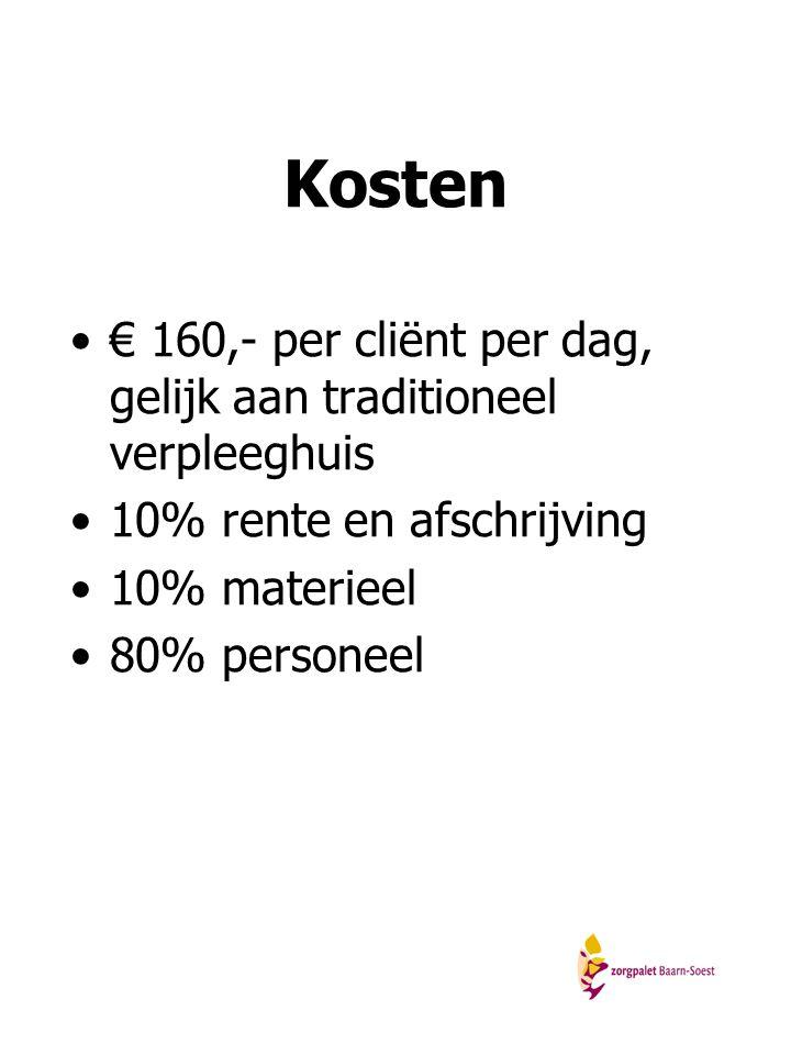Kosten € 160,- per cliënt per dag, gelijk aan traditioneel verpleeghuis 10% rente en afschrijving 10% materieel 80% personeel