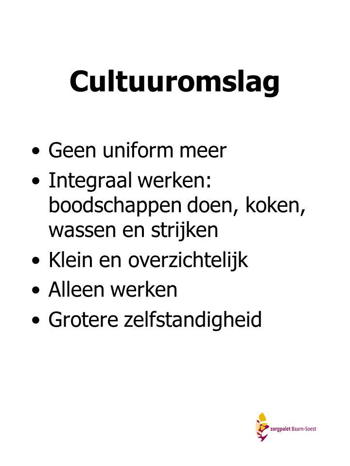 Cultuuromslag Geen uniform meer Integraal werken: boodschappen doen, koken, wassen en strijken Klein en overzichtelijk Alleen werken Grotere zelfstand