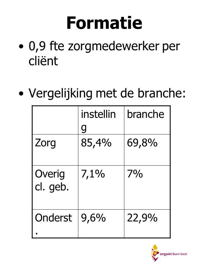 Formatie 0,9 fte zorgmedewerker per cliënt Vergelijking met de branche: instellin g branche Zorg85,4%69,8% Overig cl. geb. 7,1%7% Onderst. 9,6%22,9%