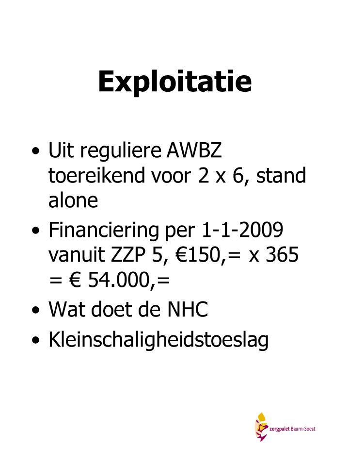 Exploitatie Uit reguliere AWBZ toereikend voor 2 x 6, stand alone Financiering per 1-1-2009 vanuit ZZP 5, €150,= x 365 = € 54.000,= Wat doet de NHC Kl
