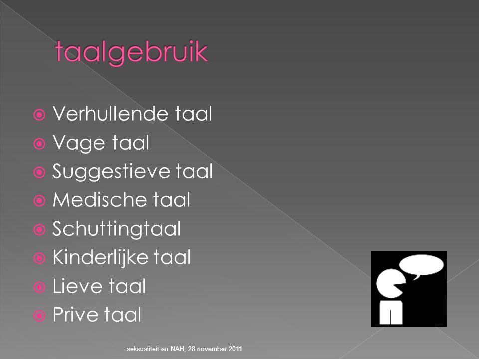  Verhullende taal  Vage taal  Suggestieve taal  Medische taal  Schuttingtaal  Kinderlijke taal  Lieve taal  Prive taal seksualiteit en NAH; 28