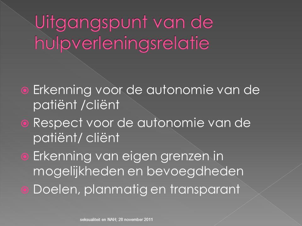  Erkenning voor de autonomie van de patiënt /cliënt  Respect voor de autonomie van de patiënt/ cliënt  Erkenning van eigen grenzen in mogelijkheden