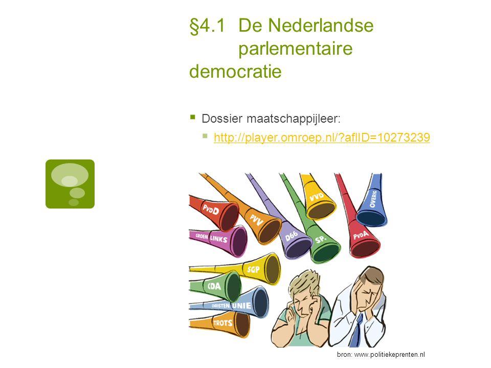 §4.1De Nederlandse parlementaire democratie  Dossier maatschappijleer:  http://player.omroep.nl/?aflID=10273239 http://player.omroep.nl/?aflID=10273