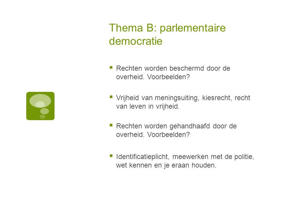 Thema B: parlementaire democratie  Rechten worden beschermd door de overheid. Voorbeelden?  Vrijheid van meningsuiting, kiesrecht, recht van leven i
