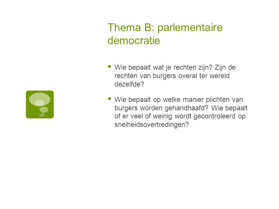 Thema B: parlementaire democratie  Wie bepaalt wat je rechten zijn? Zijn de rechten van burgers overal ter wereld dezelfde?  Wie bepaalt op welke ma