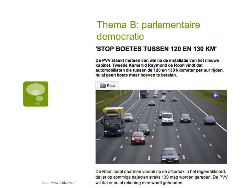 Thema B: parlementaire democratie bron: www.rtlnieuws.nl