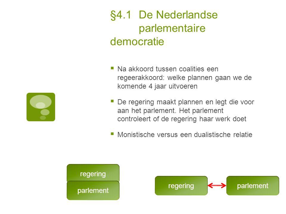 §4.1De Nederlandse parlementaire democratie  Na akkoord tussen coalities een regeerakkoord: welke plannen gaan we de komende 4 jaar uitvoeren  De re