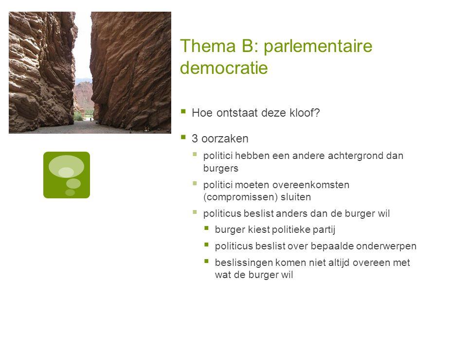 Thema B: parlementaire democratie  Hoe ontstaat deze kloof.