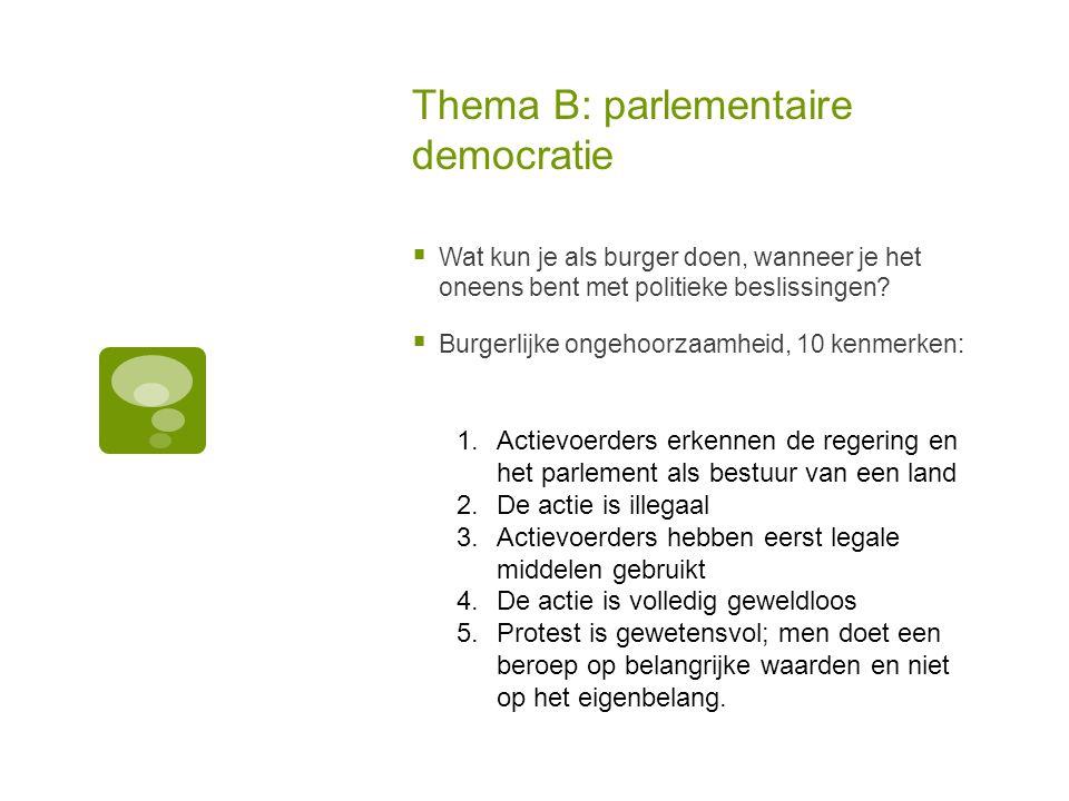 Thema B: parlementaire democratie  Wat kun je als burger doen, wanneer je het oneens bent met politieke beslissingen.