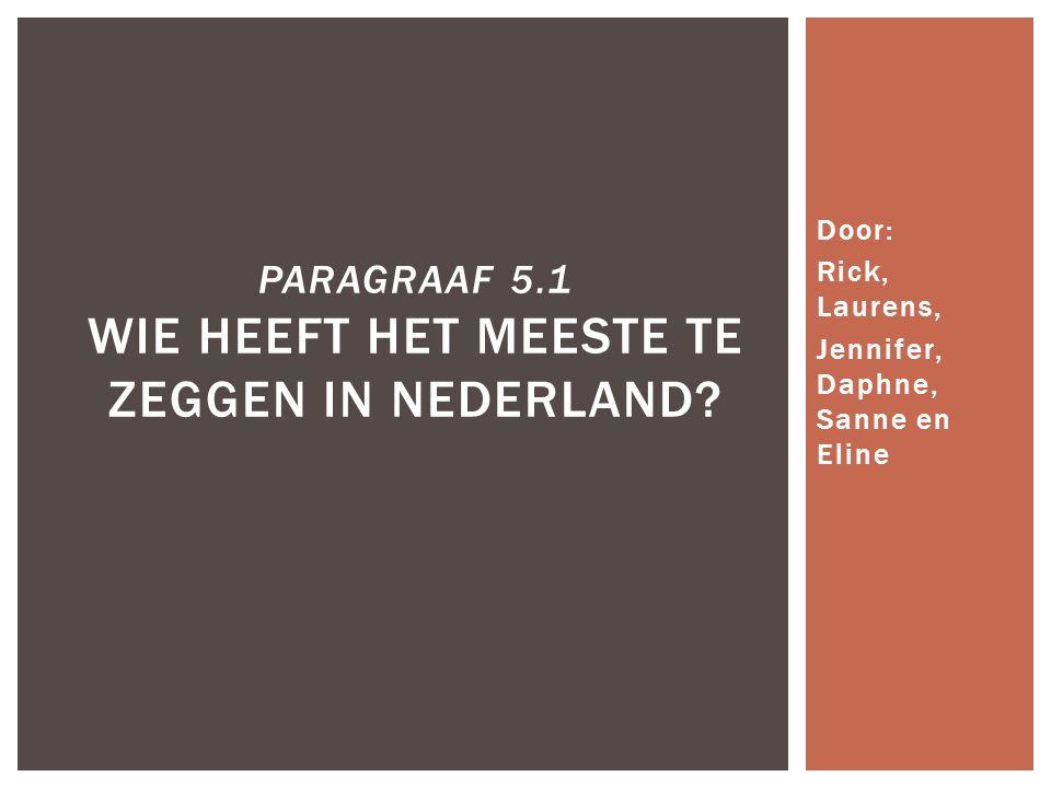  Wisselwerking tussen politici en burgers  Besluitvorming model  Barrières  Actoren in de samenleving  Machtsbron en machtsmiddelen  Wie heeft de feitelijke macht in Nederland.
