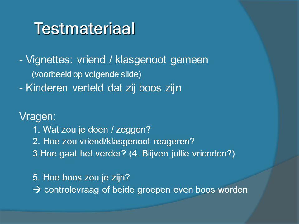 Testmateriaal - Vignettes: vriend / klasgenoot gemeen (voorbeeld op volgende slide) - Kinderen verteld dat zij boos zijn Vragen: 1. Wat zou je doen /