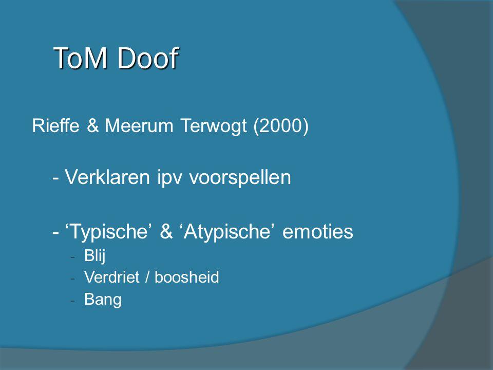 Rieffe & Meerum Terwogt (2000) - - Verklaren ipv voorspellen - - 'Typische' & 'Atypische' emoties - Blij - Verdriet / boosheid - Bang ToM Doof