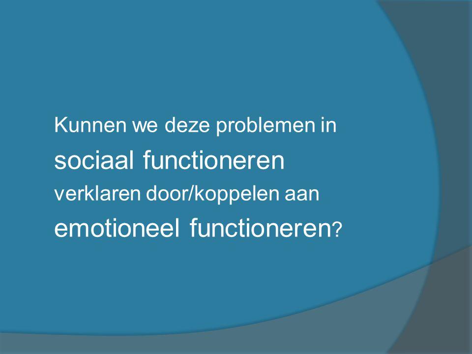 Emotioneel functioneren Bijvoorbeeld: - Expressie van emoties - Uiten van boosheid - Kennis over Emoties (- Theory of Mind Begrip andermans gedrag en gevoelens)