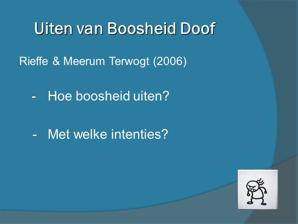 Testmateriaal - Vignettes: vriend / klasgenoot gemeen (voorbeeld op volgende slide) - Kinderen verteld dat zij boos zijn Vragen: 1.