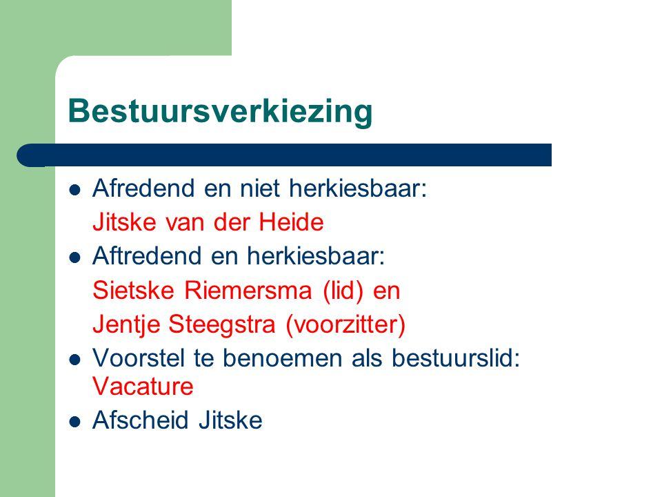 Bestuursverkiezing Afredend en niet herkiesbaar: Jitske van der Heide Aftredend en herkiesbaar: Sietske Riemersma (lid) en Jentje Steegstra (voorzitter) Voorstel te benoemen als bestuurslid: Vacature Afscheid Jitske