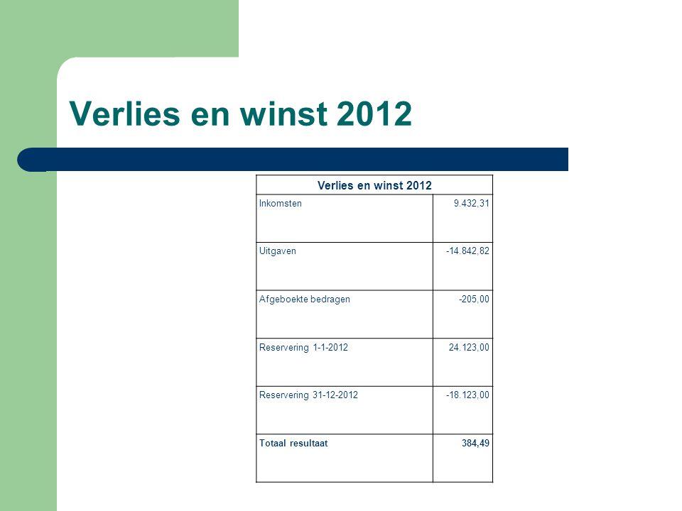 Verlies en winst 2012 Inkomsten9.432,31 Uitgaven-14.842,82 Afgeboekte bedragen-205,00 Reservering 1-1-201224.123,00 Reservering 31-12-2012-18.123,00 Totaal resultaat384,49