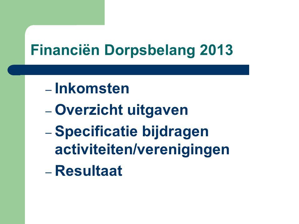 Financiën Dorpsbelang 2013 – Inkomsten – Overzicht uitgaven – Specificatie bijdragen activiteiten/verenigingen – Resultaat