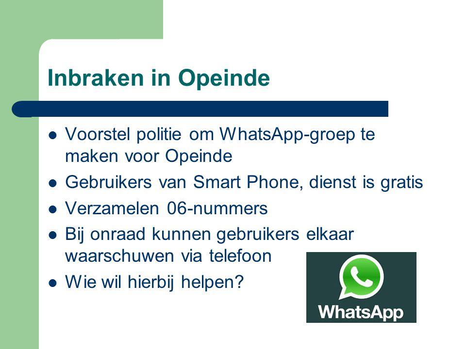 Inbraken in Opeinde Voorstel politie om WhatsApp-groep te maken voor Opeinde Gebruikers van Smart Phone, dienst is gratis Verzamelen 06-nummers Bij on