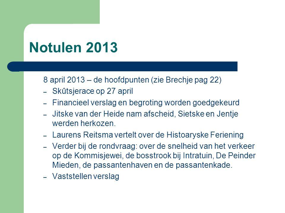Notulen 2013 8 april 2013 – de hoofdpunten (zie Brechje pag 22) – Skûtsjerace op 27 april – Financieel verslag en begroting worden goedgekeurd – Jitsk