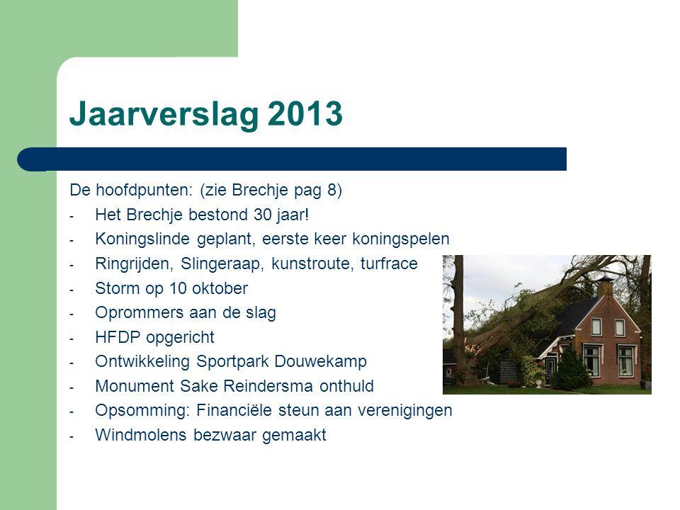Jaarverslag 2013 De hoofdpunten: (zie Brechje pag 8) - Het Brechje bestond 30 jaar! - Koningslinde geplant, eerste keer koningspelen - Ringrijden, Sli