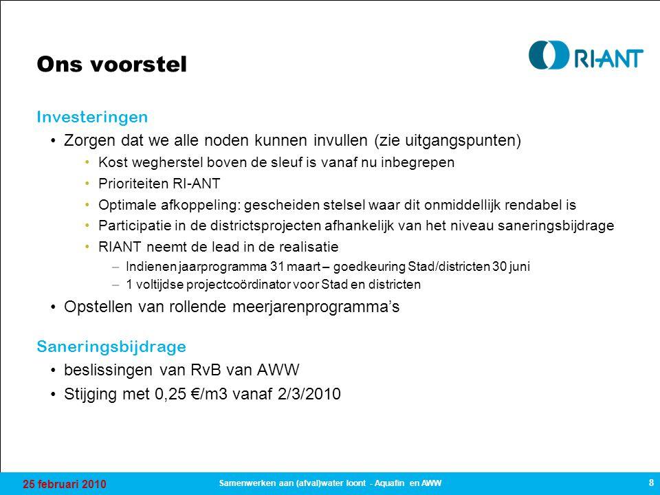 25 februari 2010 8 Samenwerken aan (afval)water loont - Aquafin en AWW Ons voorstel Investeringen Zorgen dat we alle noden kunnen invullen (zie uitgan