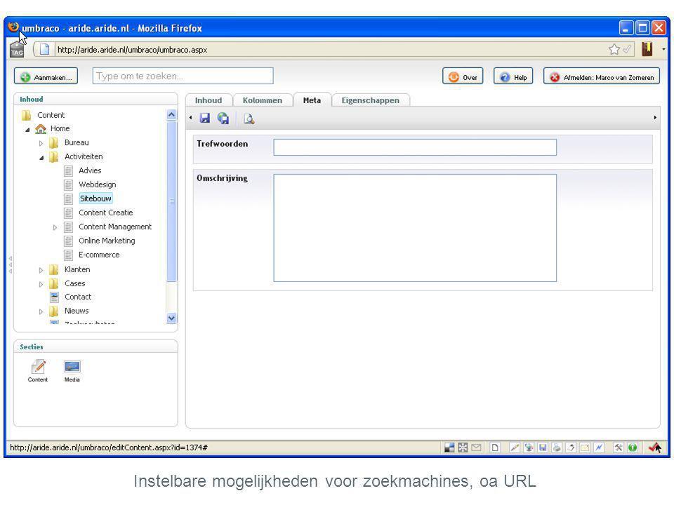 Instelbare mogelijkheden voor zoekmachines, oa URL