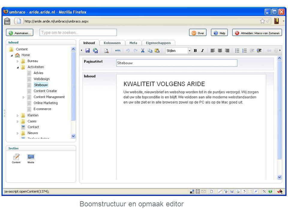 Boomstructuur en opmaak editor