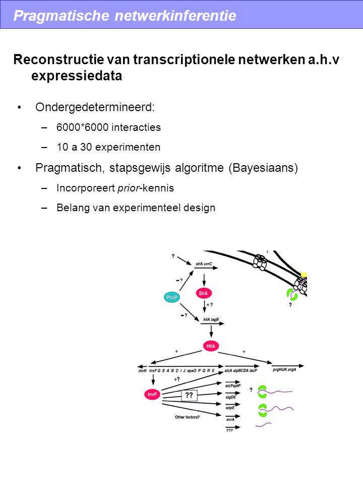 Ondergedetermineerd: –6000*6000 interacties –10 a 30 experimenten Pragmatisch, stapsgewijs algoritme (Bayesiaans) –Incorporeert prior-kennis –Belang van experimenteel design Reconstructie van transcriptionele netwerken a.h.v expressiedata Pragmatische netwerkinferentie