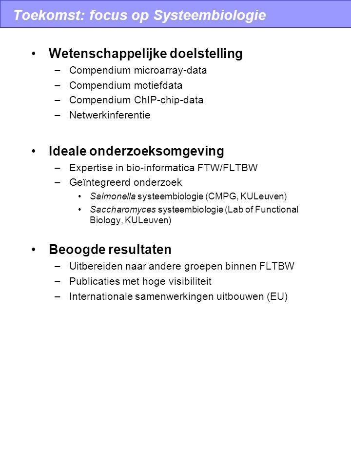 Toekomst: focus op Systeembiologie Wetenschappelijke doelstelling –Compendium microarray-data –Compendium motiefdata –Compendium ChIP-chip-data –Netwe
