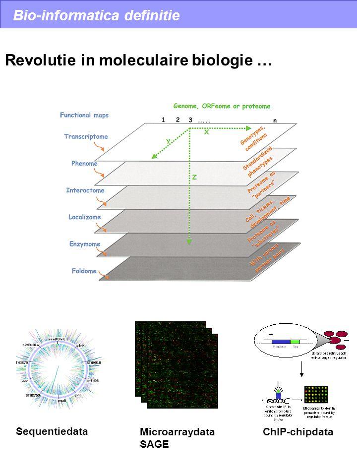 Bio-informatica definitie Sequentiedata Microarraydata SAGE ChIP-chipdata Revolutie in moleculaire biologie …