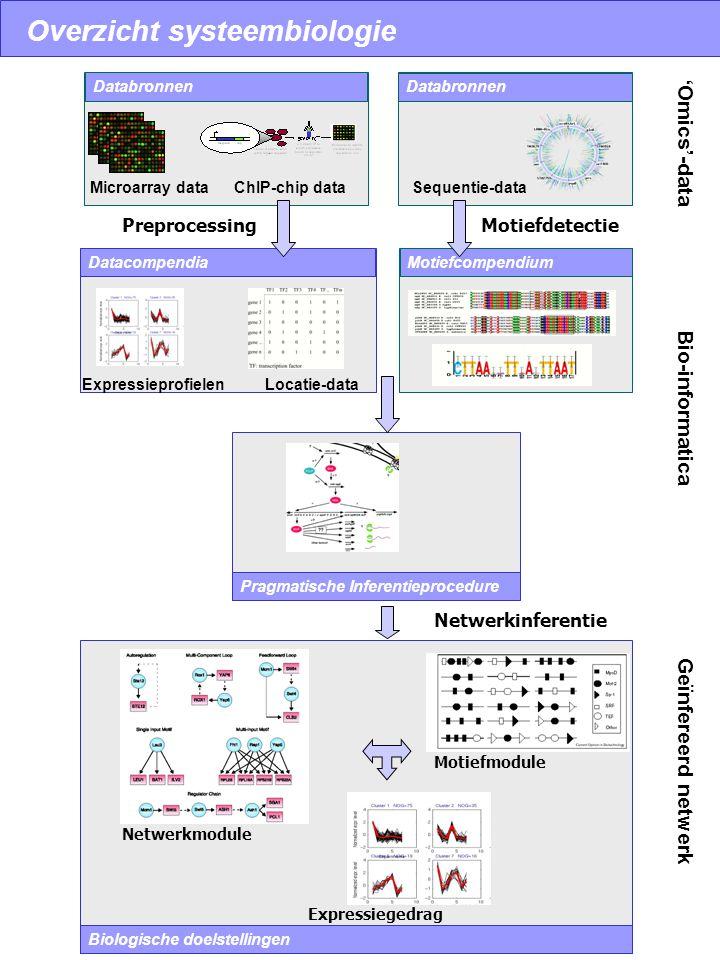 Overzicht systeembiologie Databronnen Datacompendia Databronnen PreprocessingMotiefdetectie Pragmatische Inferentieprocedure Motiefcompendium Biologis