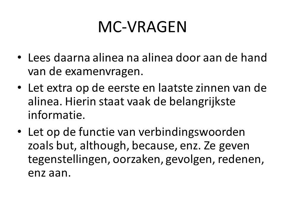 MC-VRAGEN Probeer eerst zelf het antwoord te bedenken voor je naar de antwoorden kijkt.