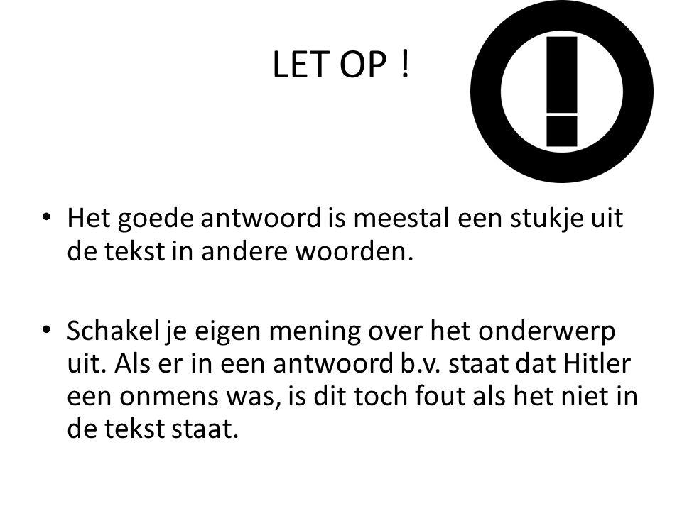 OPEN VRAGEN – Beantwoord een vraag in kort en bondig Nederlands.