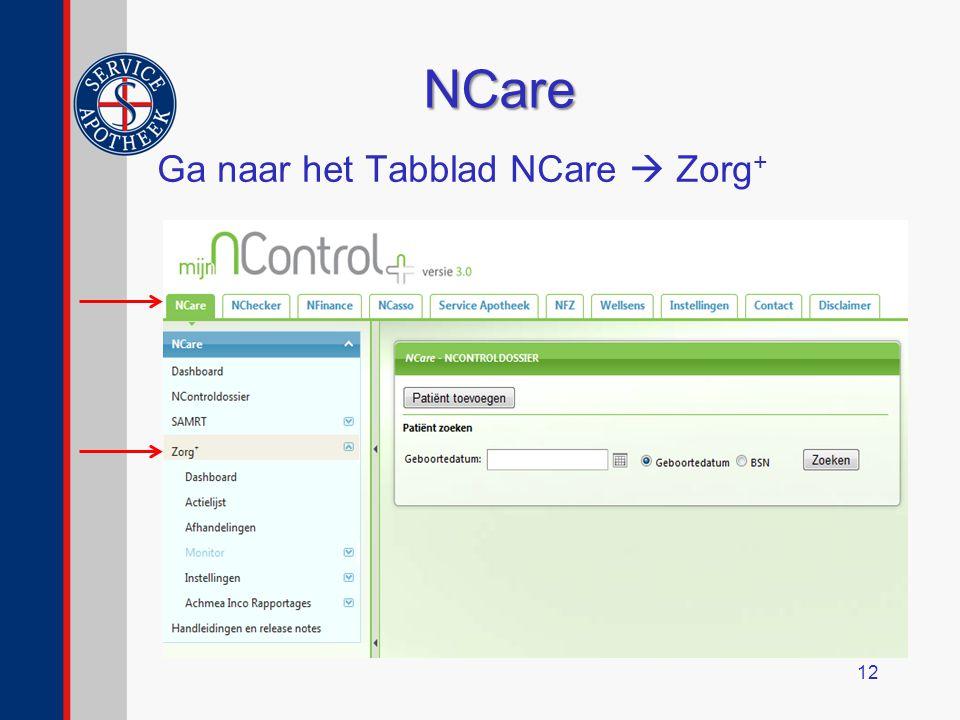 NCare Ga naar het Tabblad NCare  Zorg + 12