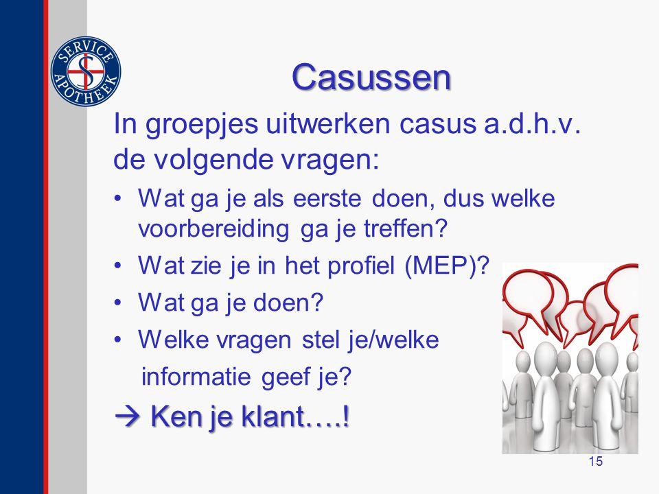 Casussen In groepjes uitwerken casus a.d.h.v.