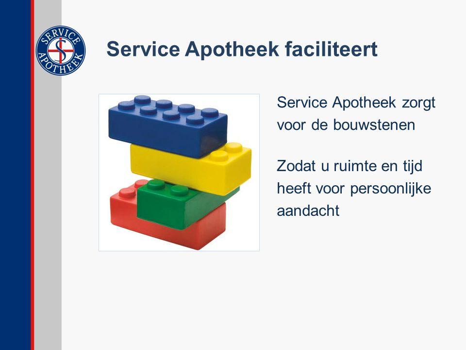 Service Apotheek faciliteert Service Apotheek zorgt voor de bouwstenen Zodat u ruimte en tijd heeft voor persoonlijke aandacht