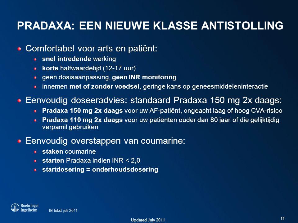 Updated July 2011 PRADAXA: EEN NIEUWE KLASSE ANTISTOLLING Comfortabel voor arts en patiënt: snel intredende werking korte halfwaardetijd (12-17 uur) g