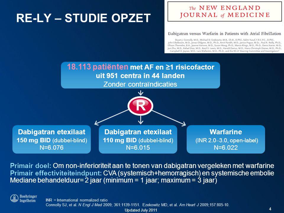 Updated July 2011 4 RE-LY – STUDIE OPZET Primair doel: Om non-inferioriteit aan te tonen van dabigatran vergeleken met warfarine Primair effectiviteit