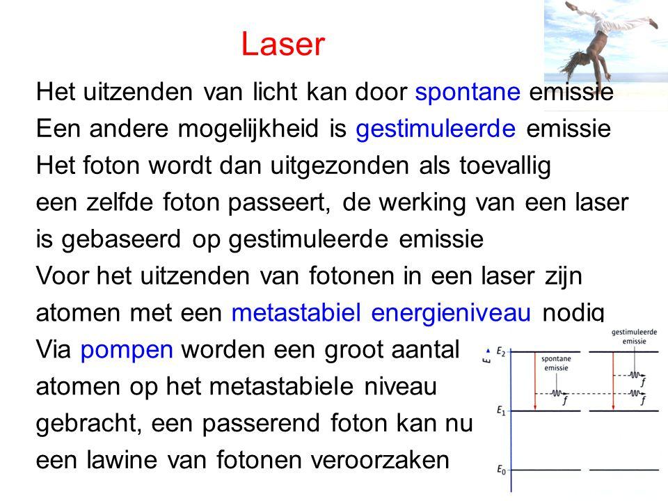 Laser Het uitzenden van licht kan door spontane emissie Een andere mogelijkheid is gestimuleerde emissie Het foton wordt dan uitgezonden als toevallig