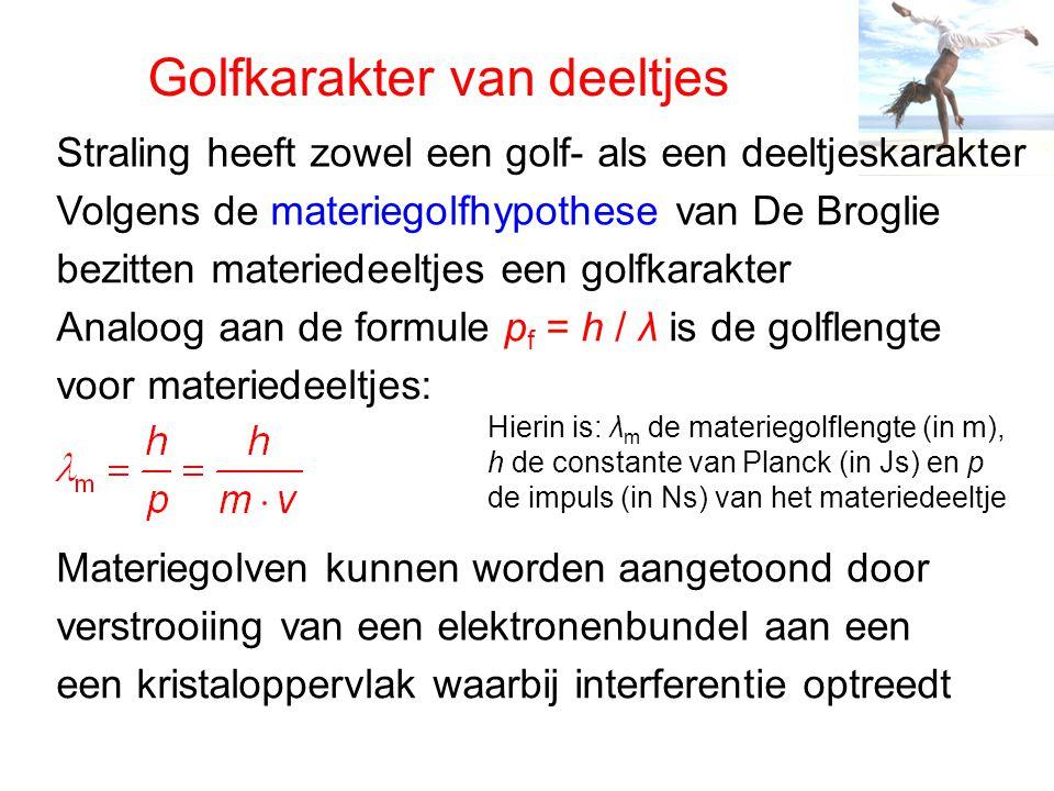 Golfkarakter van deeltjes Straling heeft zowel een golf- als een deeltjeskarakter Volgens de materiegolfhypothese van De Broglie bezitten materiedeelt