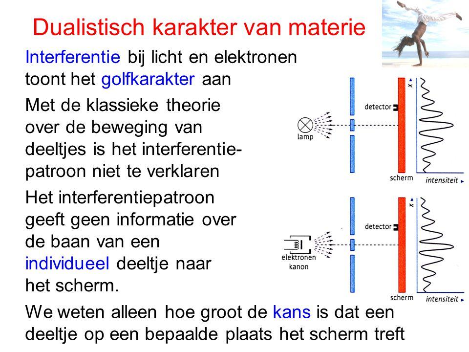 Dualistisch karakter van materie Interferentie bij licht en elektronen toont het golfkarakter aan Met de klassieke theorie over de beweging van deeltj