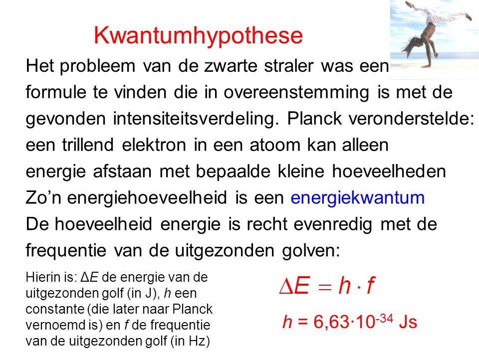 Kwantumhypothese een trillend elektron in een atoom kan alleen energie afstaan met bepaalde kleine hoeveelheden Zo'n energiehoeveelheid is een energie