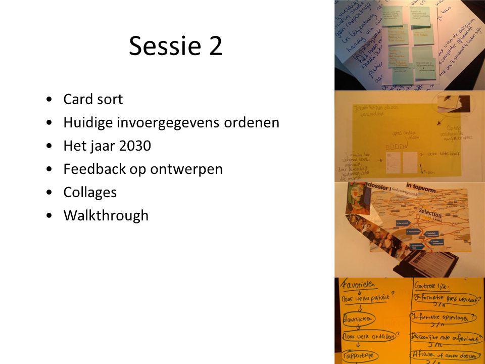 Sessie 2 Card sort Huidige invoergegevens ordenen Het jaar 2030 Feedback op ontwerpen Collages Walkthrough