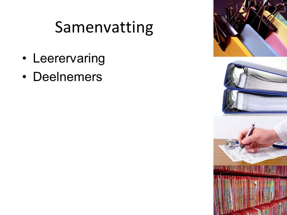 Samenvatting Leerervaring Deelnemers