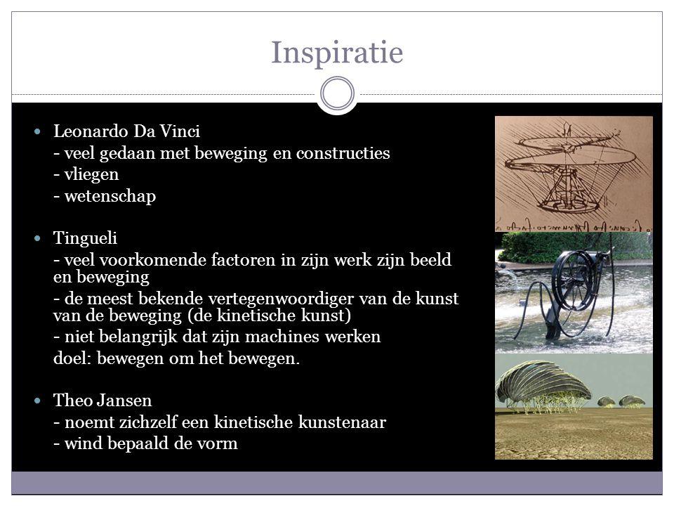 Inspiratie Leonardo Da Vinci - veel gedaan met beweging en constructies - vliegen - wetenschap Tingueli - veel voorkomende factoren in zijn werk zijn