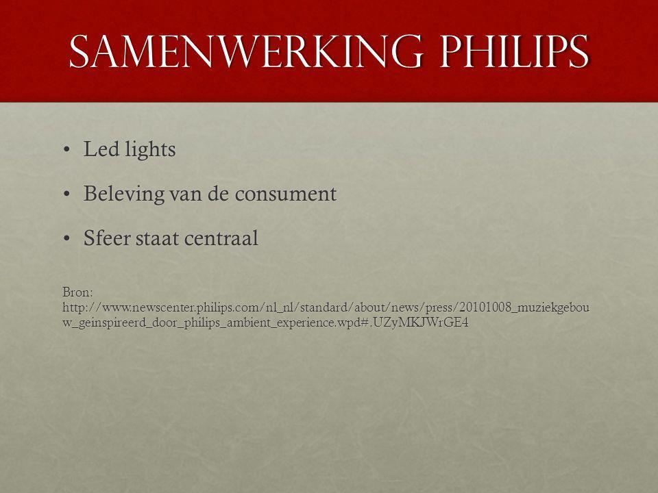Samenwerking Philips Led lightsLed lights Beleving van de consumentBeleving van de consument Sfeer staat centraalSfeer staat centraal Bron: http://www.newscenter.philips.com/nl_nl/standard/about/news/press/20101008_muziekgebou w_geinspireerd_door_philips_ambient_experience.wpd#.UZyMKJWrGE4