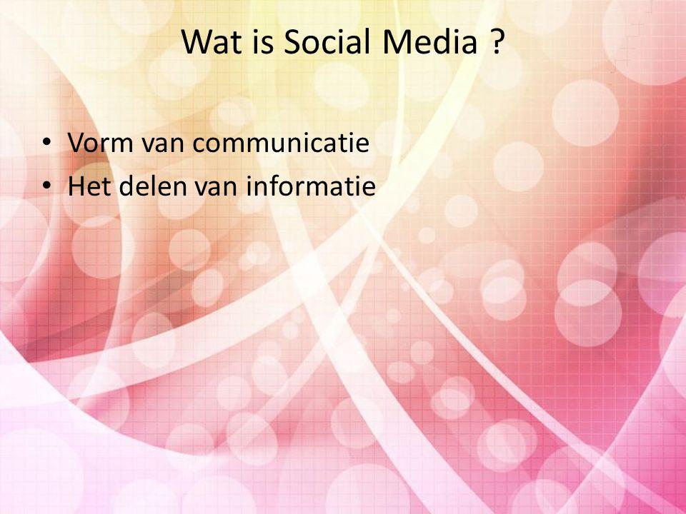 Wat is Social Media ? Vorm van communicatie Het delen van informatie