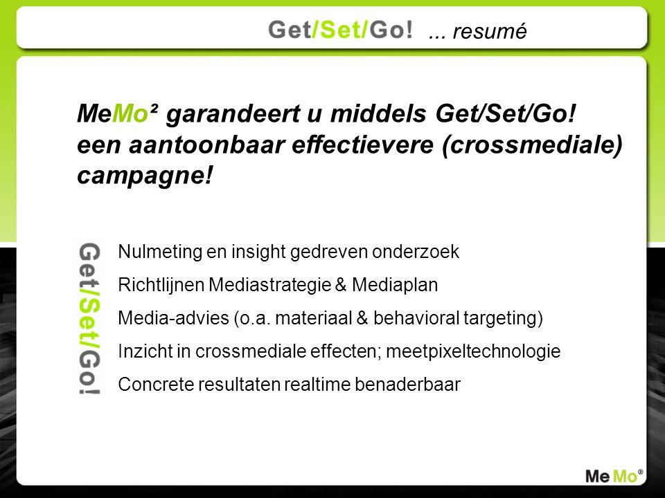 MeMo² garandeert u middels Get/Set/Go. een aantoonbaar effectievere (crossmediale) campagne.