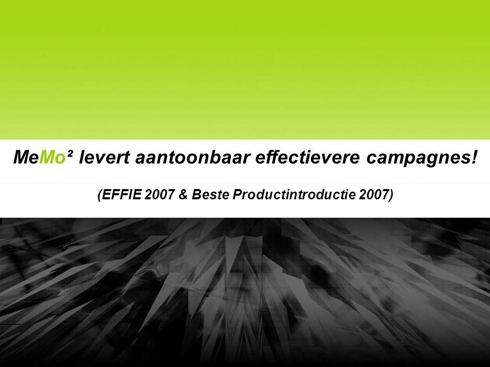 MeMo² levert aantoonbaar effectievere campagnes! (EFFIE 2007 & Beste Productintroductie 2007)