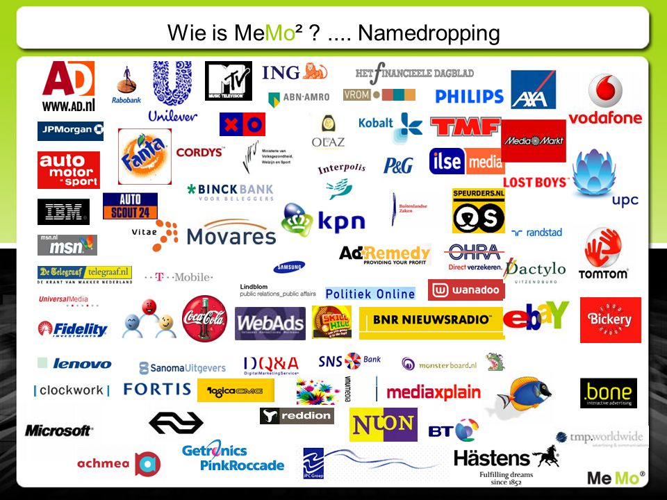 Wie is MeMo² .... Namedropping